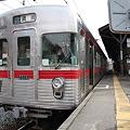 屋代駅で発車を待つ長野電鉄3500系
