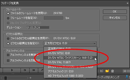 「NTSC-ワイドスクリーン-16:9」を選択