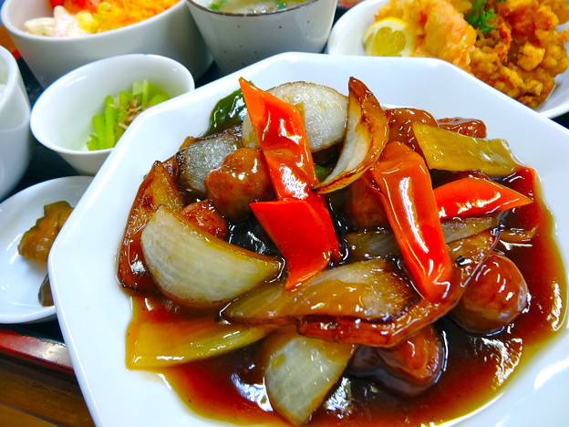 てんしん中華店 日替ランチ 甘酢肉団子定食 広島市南区的場町 Tianjin