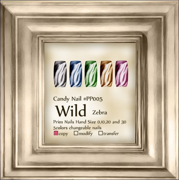 Candy Nail #PP005 Wild Zebra 5color change
