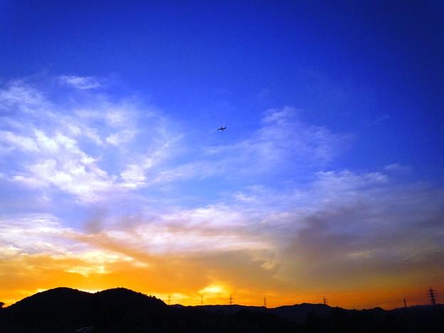 夕焼け空に~トラネコ雲と機影~